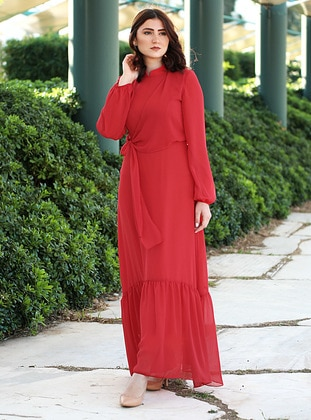 Red - Crew neck - Fully Lined - Dress