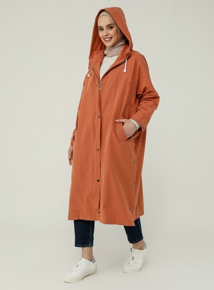 Wide-Cut Trench Coat With Hood And Snaps Details - Coral - Refka Casual