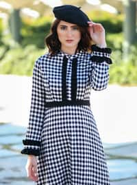 Black - Checkered - Crew neck - Unlined - Dress