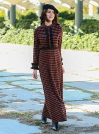 Brown - Checkered - Crew neck - Unlined - Dress