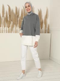 Sweatshirt à Capuche Avec Poches Kangourou - Anthracite
