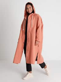 Wide-Cut Trench Coat With Hood And Snaps Details - Coral - Casual
