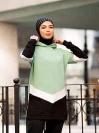 Sweatshirt with Hood - Green Almond