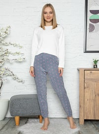 Gray - Heart Print - Pyjama