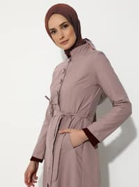 Pink - Unlined - V neck Collar - Trench Coat