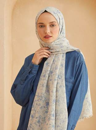 Blue - Printed - Shawl