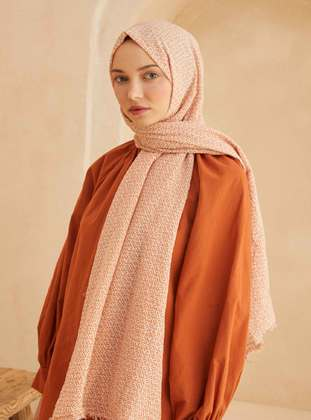 Orange - Printed - Geometric - Shawl