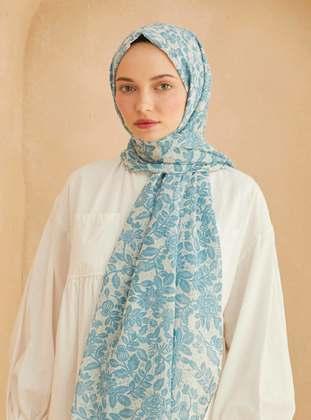 Blue - Floral - Shawl