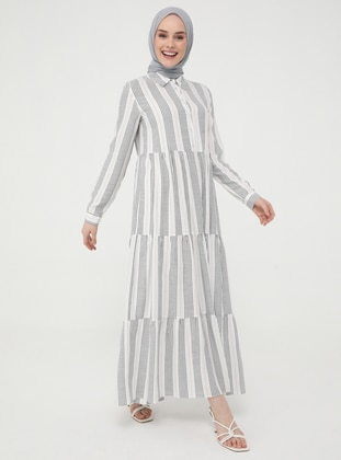 Navy Blue - Stripe - Point Collar - Unlined - Modest Dress - Casual