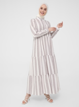 Plum - Stripe - Point Collar - Unlined - Modest Dress - Casual