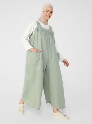 Green - Unlined - Sweatheart Neckline - Jumpsuit - Benin
