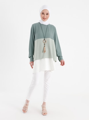 Necklace Detailed Color Block Tunic - Green Almond Ecru - Casual