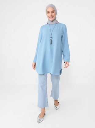 Necklace Detailed Side Slit Tunic - Light Blue - Casual