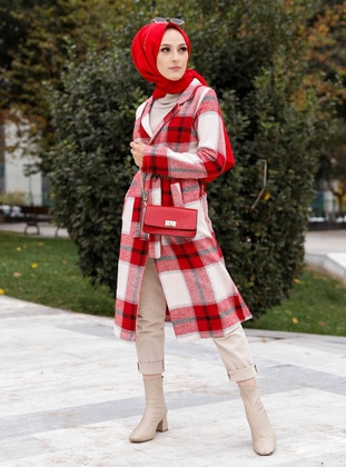 Red - Checkered - Unlined - Shawl Collar - Jacket