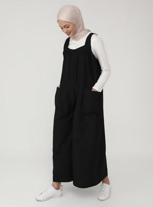 Black - Black - Unlined - Sweatheart Neckline - Jumpsuit - Benin