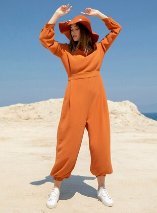Orange - Unlined - Crew neck - Jumpsuit