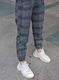 Gray - Plaid - Pants
