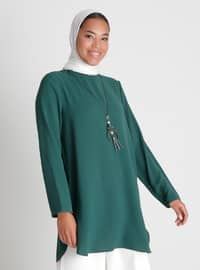 Necklace Detailed Side Slit Tunic - Green - Casual