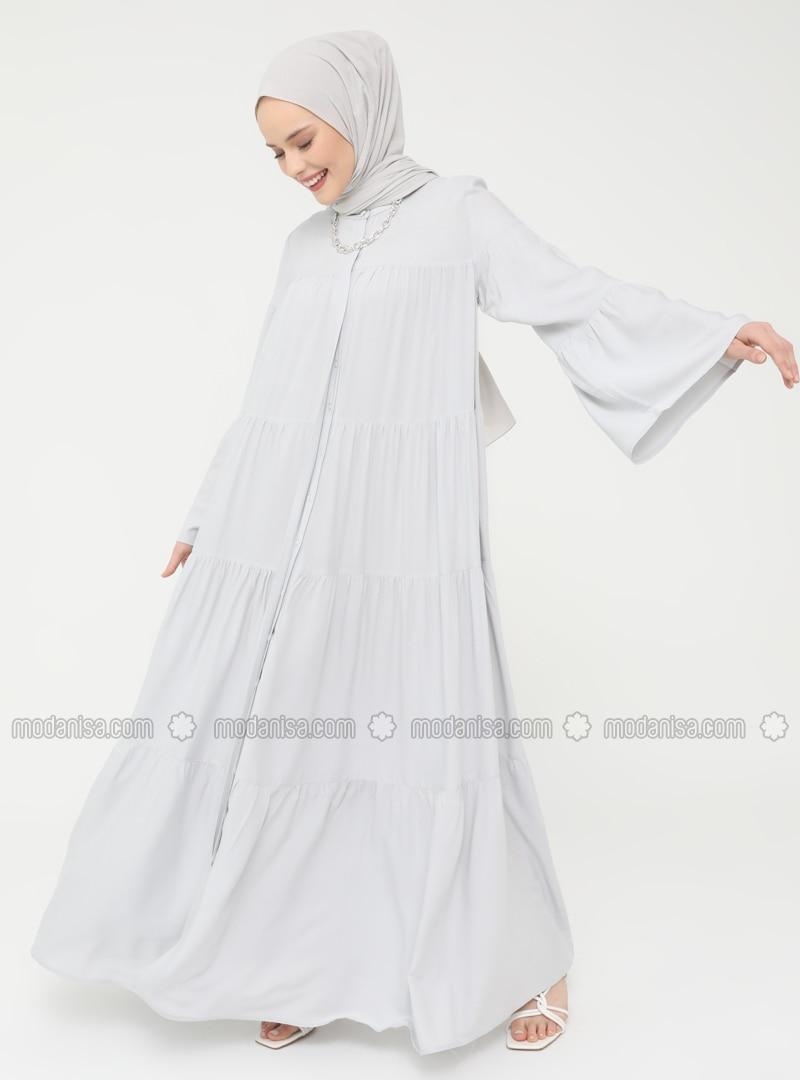 Gray - Button Collar - Unlined - Modest Dress - Casual