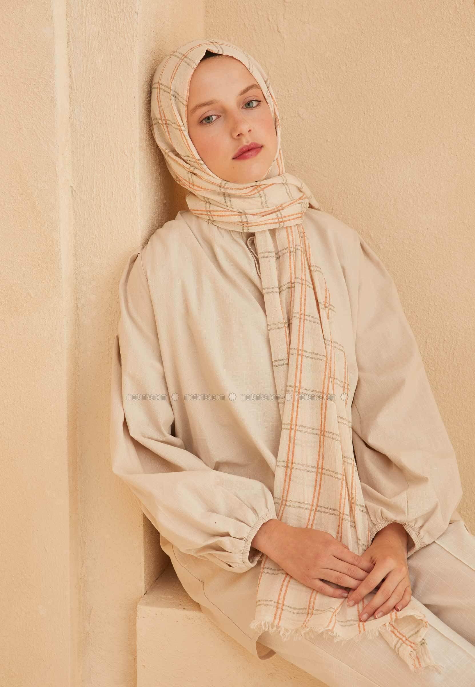 Khaki - Orange - Printed - Shawl
