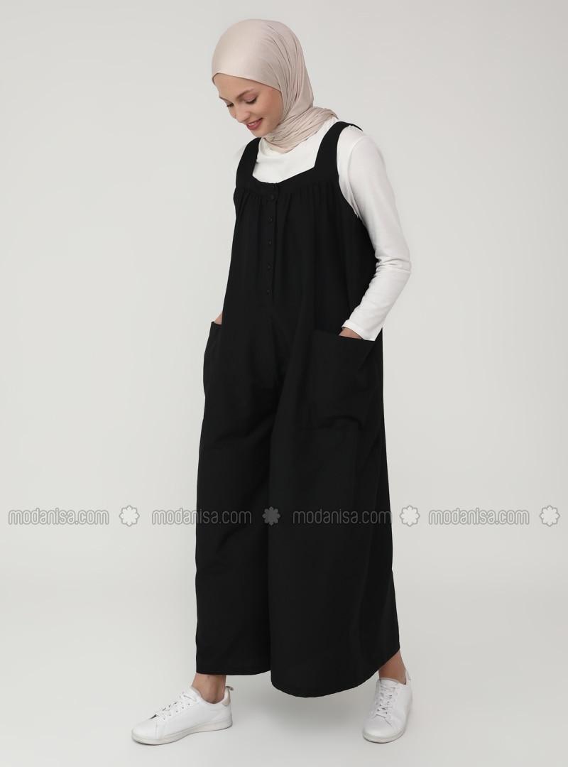 Black - Unlined - Sweatheart Neckline - Jumpsuit