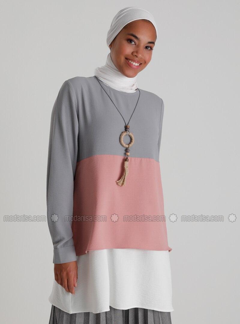 Necklace Detailed Color Block Tunic - Gray Powder Ecru - Casual