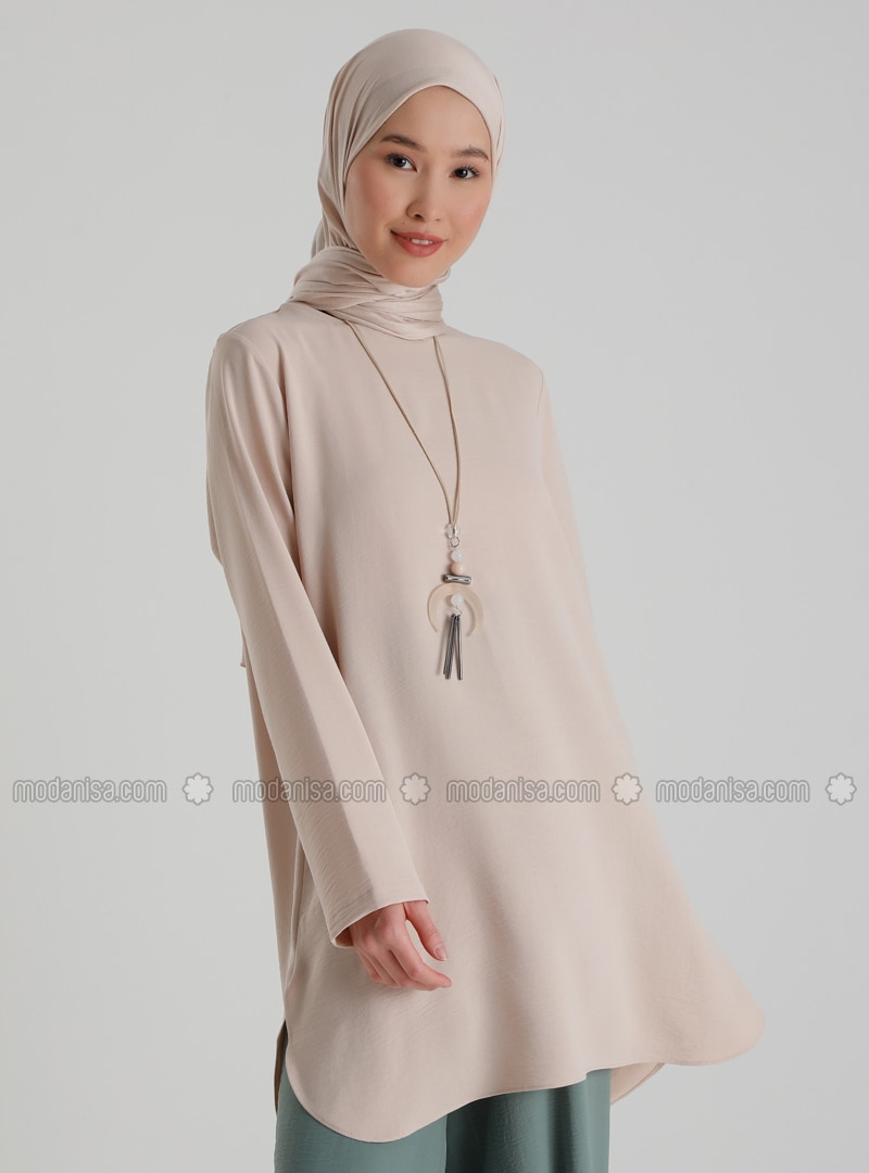 Necklace Detailed Side Slit Tunic - Beige - Casual