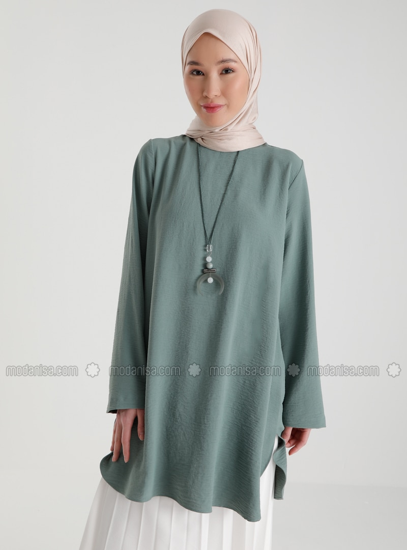 Necklace Detailed Side Slit Tunic - Green Almond - Casual