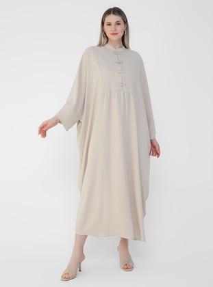 Beige - Crew neck - Unlined - Plus Size Abaya - Alia