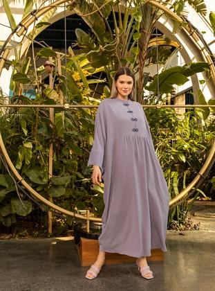 Lilac - Crew neck - Unlined - Plus Size Abaya - Alia