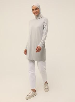 Viscose Fabric Crew-Neck Tunic 85 cm - Gray - Basic