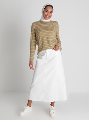 Ecru - White - Ecru - Unlined - Denim - Skirt