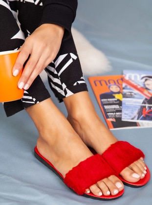 Sandal - Red - Home Shoes - Ayakkabı Havuzu