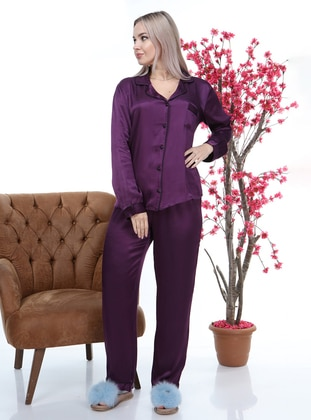 Purple - Shawl Collar - Pyjama Set