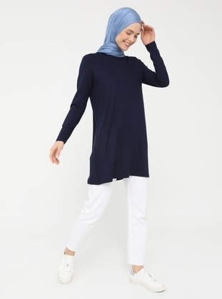 Navy Blue - Crew neck - Tunic - Basic
