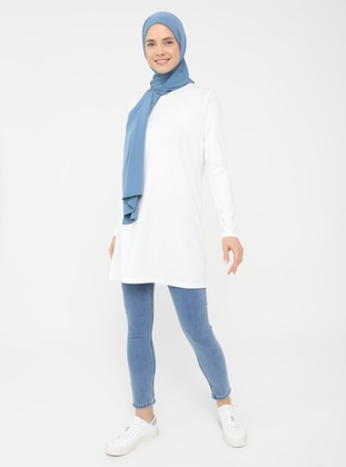 White - Crew neck - Tunic - Basic