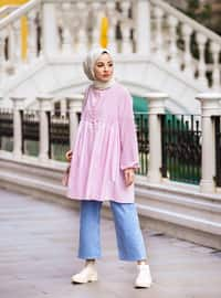 Pink - Crew neck - Tunic - Casual
