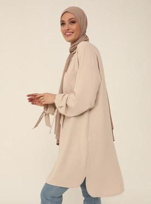 Tie Detailed Long-Back Tunic - Beige - Refka Woman