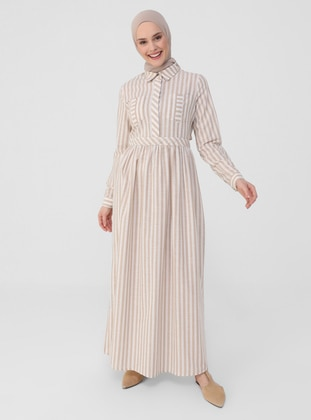 Beige - Stripe - Point Collar - Unlined - Modest Dress