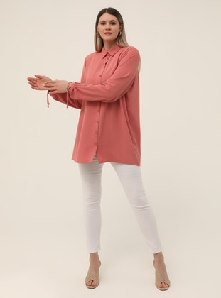 Button Down Tunic - Light Pink