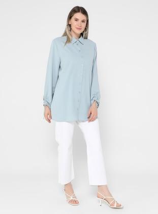 Button Down Tunic - Ice Blue - Alia