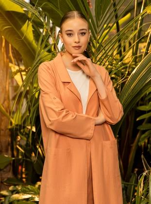 Orange - Unlined - Shawl Collar - Plus Size Coat
