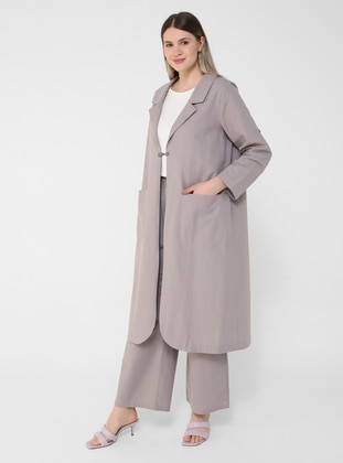 Lilac - Unlined - Shawl Collar - Plus Size Coat