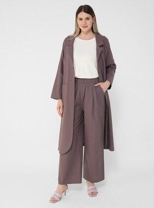 Purple - Hac ve Umre - Plus Size Pants