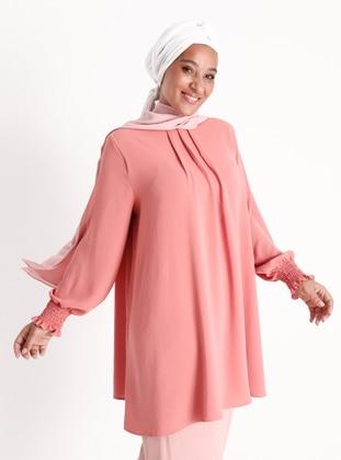 Light Pink - Crew neck - Plus Size Tunic