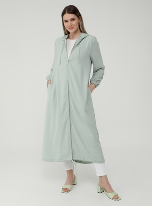 Oversize Hooded Zippered Cape - Sea Green