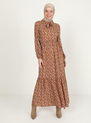 Brown - Multi - V neck Collar - Unlined - Dress