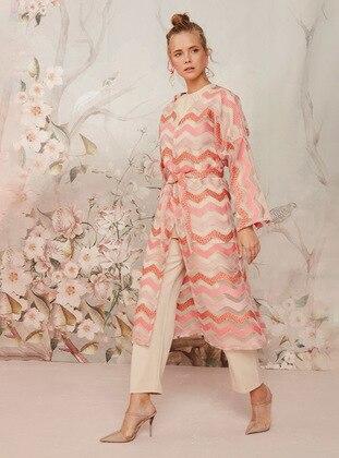 Unlined - Multi - Pink - V neck Collar - Kimono