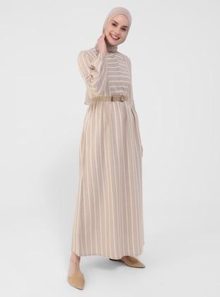 Camel - Nude - Stripe - Button Collar - Unlined - Modest Dress