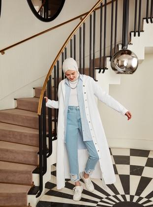 Natural Fabric Hooded Denim Cape - White